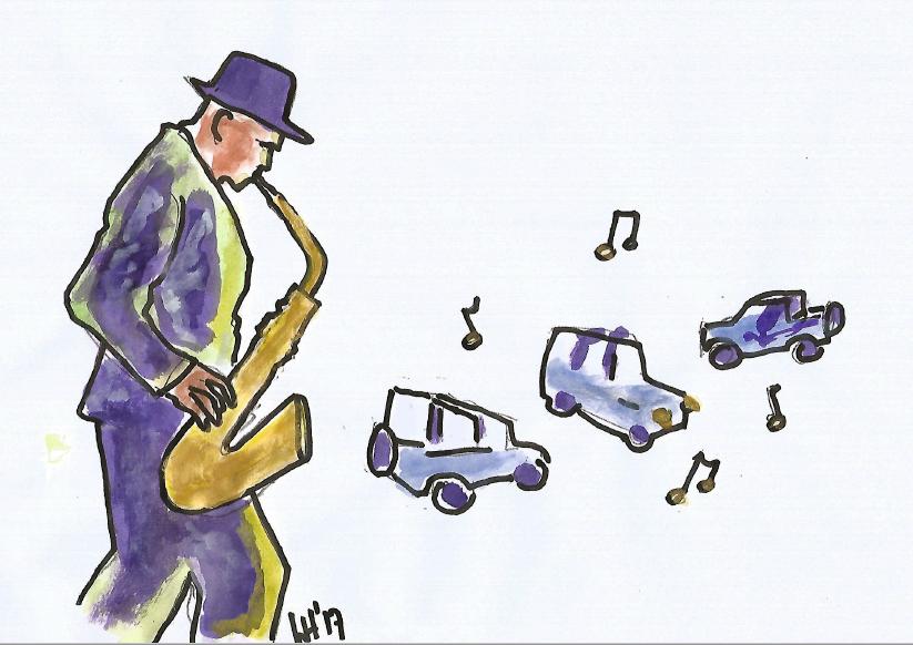 Saxophonspieler mit Suzuki-Jeeps (18.03.2017)